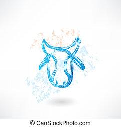 Cow's head grunge icon