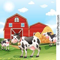 Cows in the farmland illustration
