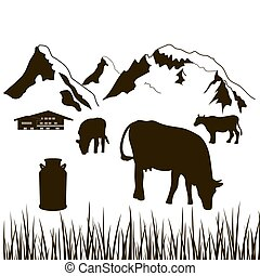 cows, milk can, grass and house on a mountains background. Dairy production silhouette. Cattle farm. Alpine background. For logo, price tag, banner, advertising, prints, design elements sticker label