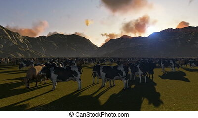 Cows on green meadow and mountain