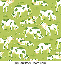 Cows on the field seamless pattern background