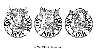 Cows, pig, sheep head. 100 percent beef pork lamb meat lettering