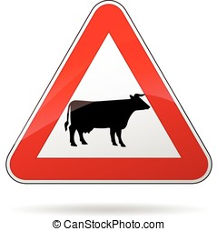 cows warning sign
