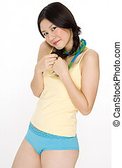 Coy - An attractive young asian woman in colorful underwear