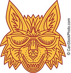 Mono line style illustration of a coyote wolf head wearing sunglasses smiling viewed from front set on isolated white background.