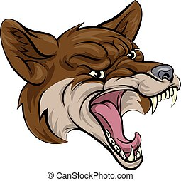 An illustration of a coyote animal sports mascot cartoon character clawing through background