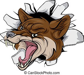 Coyote mascot break out - A cartoon coyote animal sports...