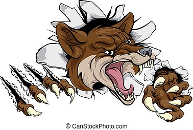 Coyote mascot ripping out - An illustration of a coyote...