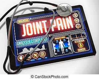coyuntura, médico, dolor, exhibición, tablet.