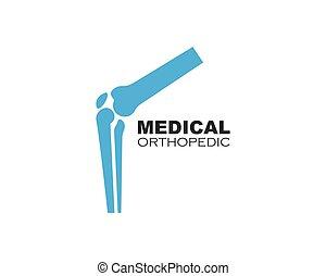 coyuntura, vector, logotipo, hueso, ilustración, rodilla
