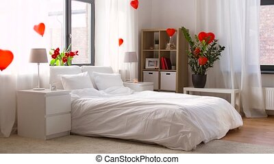 cozy bedroom decorated for valentines day - coziness,...
