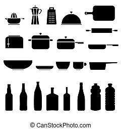 cozinha, ícone, jogo