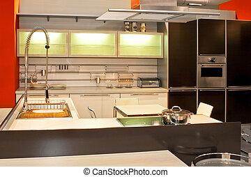 cozinha, 2, modernos