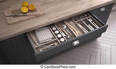 cozinha, aberta, gaveta, cheio, de, kitchenware