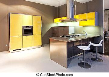 cozinha, amarela