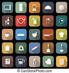 cozinha, apartamento, ícones, com, longo, sombra