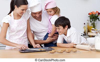 cozinha, assando, família