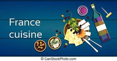 cozinha, azeitonas, queijo, madeira, francês, uvas, textured, tabela, vinho