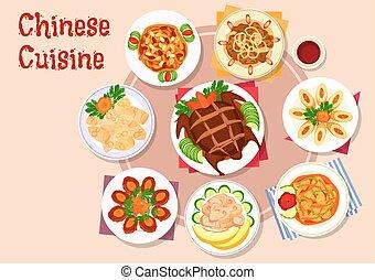 cozinha, carne, chinês, menu, desenho, pratos, ícone