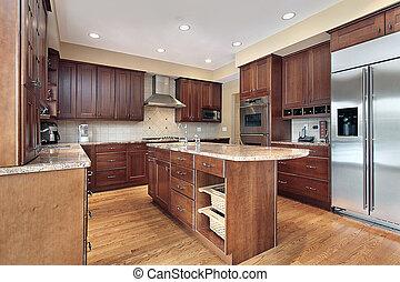 cozinha, com, cereja, madeira, cabinetry