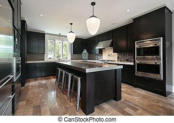cozinha, com, escuro, madeira, cabinetry