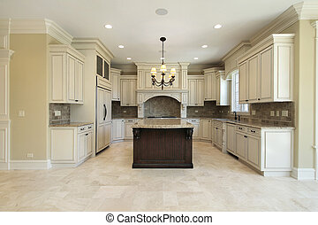 cozinha, com, granito, ilha