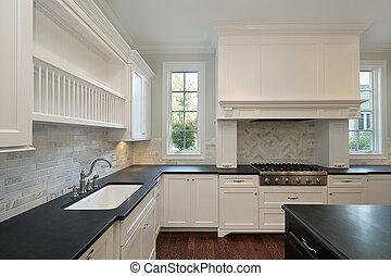 cozinha, com, pretas, countertops