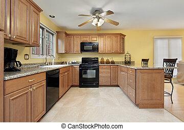cozinha, com, pretas, eletrodomésticos