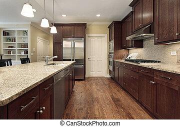 cozinha, com, quarto familiar, vista