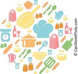 cozinha, cozinhar, fundo, ícones