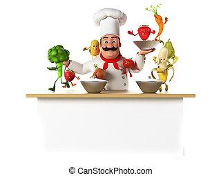 cozinha, cozinheiro, e, legumes