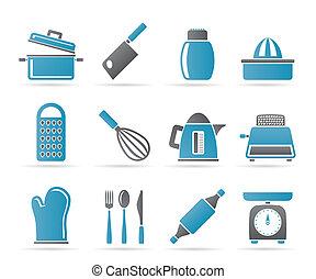 cozinha, e, lar, utensílio, ícones