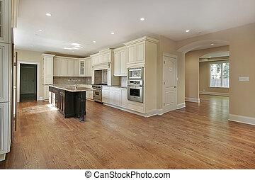 cozinha, em, novo, construção, lar