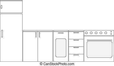 cozinha, esquemático, mobília