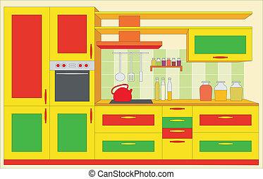 cozinha, furniture., interior