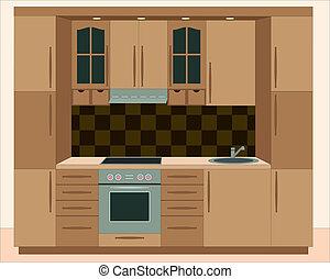 cozinha, furniture., interiores
