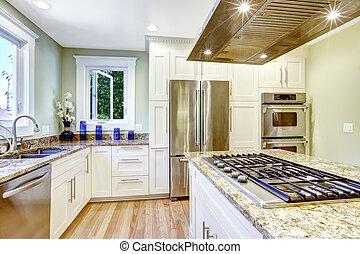 cozinha, ilha, com, built-in, fogão, granito, topo, e, capuz