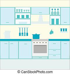 cozinha, ilustração, mobília