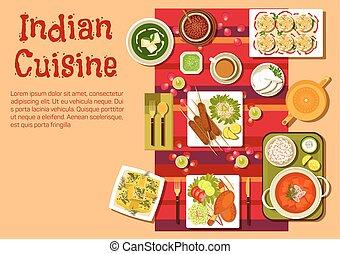 cozinha, indianas, pratos, lanches