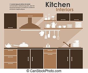 cozinha, interior, em, apartamento, infographic, estilo