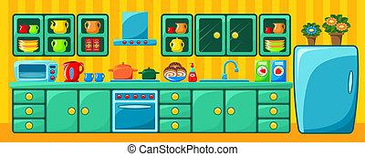 cozinha, interior.