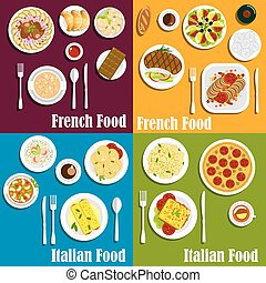 cozinha, itália, pratos, frança