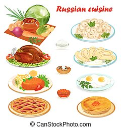 cozinha, jogo, hamburger, panquecas, dumplings, ilustração, russo, ovos mexidos, sopa, bolo