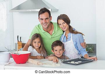 cozinha, junto, família, assando