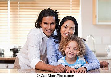 cozinha, junto, família