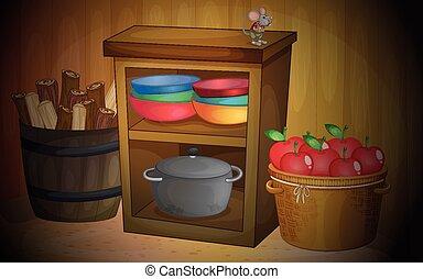 cozinha, maçãs, prateleiras