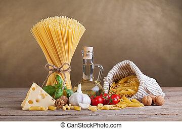 cozinha mediterrâneo, e, dieta, ingredientes