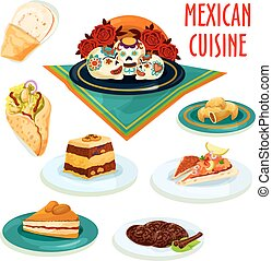 cozinha mexicana, sobremesas, e, lanches, isolado, ícones