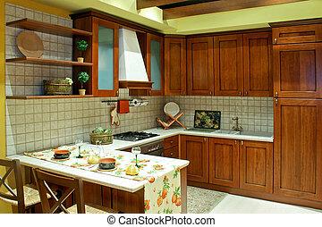 cozinha, país, marrom
