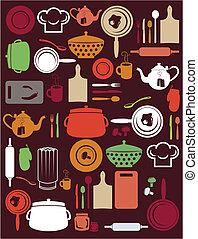 cozinha, padrão, cute
